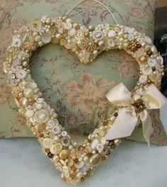 Heart shaped covered in buttons...