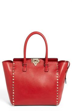 Valentino 'Rockstud - Vitello' Double Handle Leather Tote