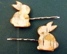 2 Birch Bark Rabbit or Bunny Bobby Pin Hair by TimesNotForgotten