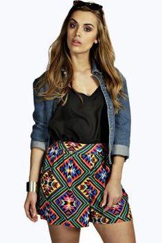 Lucia Printed Flippy Shorts at boohoo.com