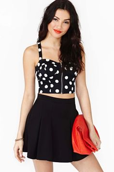 Hot dot bustier from Nasty Gal: $38 (I've suddenly found the motivation to do crunches!)