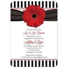 Red gerbera daisy black and white stripe retro 50s style engagement party invitation.