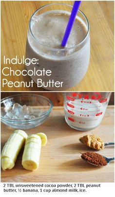 Chocolate, peanut butter, banana smoothie