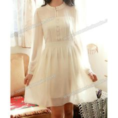 Wholesale Wide Hem Long Sleeve Round Collar Buttons Embellished Nipped Waist Solid Color Dress For Women (APRICOT,ONE SIZE), Long Sleeve Dresses - Rosewholesale.com