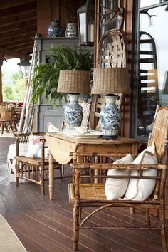 All Things Farmer.....how cool is that...wicker shades on porcelain base!