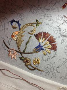 Jacobean Embroidery, Goldwork, Flower Art, Linens, Needlework, Elsa, Applique, Brooch, Stuff To Buy