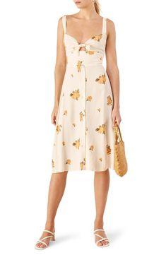 e64807f157e7 Reformation Frankfort Tie Bodice Dress Midi Skirt