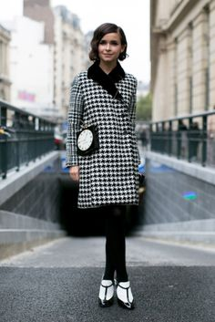 Miroslava Duma may have had the chicest play on black and white yet. #pfw #streetstyle #ss14