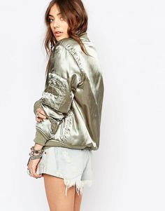 Young Bohemians | Young Bohemians Bomber In Luxe Khaki at ASOS