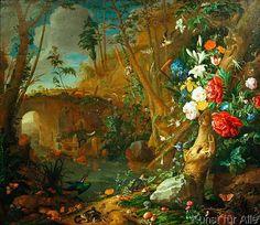 Jan+Davidsz.+de+Heem+-+Waldbodenstillleben+mit+Blumen+und+Amphibien