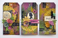 Stamped tags by Janine Koczwara for Prima!