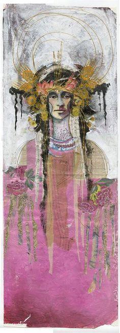 Bali Woman wallpaper panel by Anahata Katkin Collages, Collage Art, Papaya Art, Drawn Art, Wallpaper Panels, Art Journal Pages, Journal Ideas, Mixed Media Art, Female Art