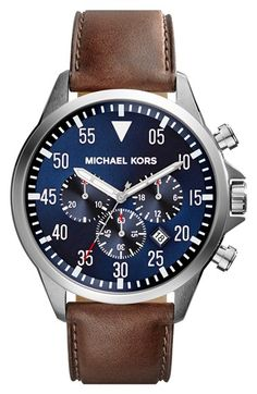 MICHAEL Michael Kors Michael Kors 'Gage' Chronograph Leather Strap Watch, 45mm available at #Nordstrom
