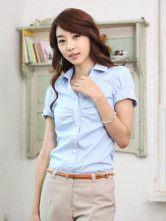 Formal Light Sky Blue Short Sleeves Pleated Cotton Women's Shirt-No.2