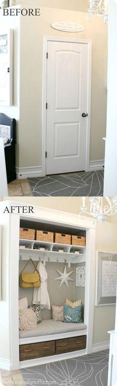 entryway storage bench with rattan baskets and drawers - hexagram craft, modular storage system
