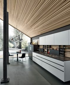 Lacquered #kitchen with handles MY PLANET by Varenna by Poliform @Poliform|Varenna MYLIFE