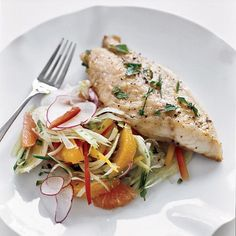 Red Snapper with Citrus and Fennel Salad | Daniel Boulud broils snapper right on dinner plates, topping the fish with citrus, diced jalapeño and bell peppers. A simple radish-fennel salad goes alongside. An easier way is to broil the snapper on a baking sheet, then serve it with a salad that combines all the bright, crisp flavors of the original dish: fennel, radishes, bell pepper, citrus and jalapeño.