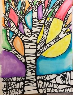 I was first introduced to the idea of art therapy when my high school art t Art Therapy Projects, Art Therapy Activities, Therapy Ideas, Name Art Projects, Family Art Projects, Middle School Art Projects, Diy Projects, 6th Grade Art, Ecole Art