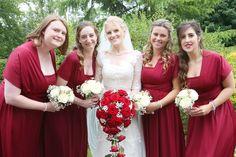 Burgundy / dark red multi tie bridesmaids dresses