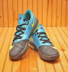 c18119f155f4 Nike KD VI 6 Size 4Y - Black Volt Vivid Blue Dark Grey - 599477 006