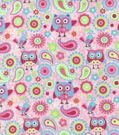 Novelty Cotton Fabric- Owls & Paisley
