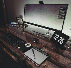 10 DIY Computer Desk Ideas for Home Office - Interior Pedia Setup Desk, Computer Desk Setup, Pc Desk, Home Office Setup, Pc Setup, Room Setup, Gaming Setup, Home Office Design, Office Ideas