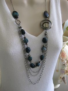 Blue Jean Necklace, Beaded Necklae, Multistrand Chains, Blue Necklace, Chunky Long Beaded Necklace, Long, One of a Kind
