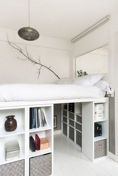 How to DIY a king size loft bed? So I was thinking of getting a king size … Help! How to DIY a king size loft bed? So I was thinking of getting a king size loft bed with space for a desk underneath. However, the biggest IKEA loft bed is only a … Ikea Loft Bed, Ikea Bed, Bedroom Design, Kallax Shelving Unit, Small Room Bedroom, Dorm Room Decor, Small Rooms, Ikea Loft, Dream Rooms