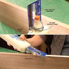 Woodworking Tools Onboard Glue Spreader - Check out 45 of the most clever gluing tips and tricks from editors and readers of The Family Handyman. You'll definitely want to keep these in mind during your next woodworking projects! Wood Tools, Diy Tools, Woodworking Jigs, Woodworking Projects, Woodworking Classes, Homemade Tools, Shop Organization, Neat And Tidy, Garage Workshop