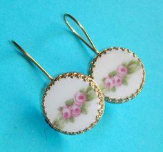 Bezel set Vintage China Earrings - Pink Roses