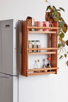 Shop Carla Refrigerator Storage Rack at Urban Outfitters today. We carry all the latest styles, colors and brands for you to choose from right here. Apartment Furniture, Apartment Kitchen, Apartment Living, Diy Furniture, Living Rooms, Small Space Organization, Home Organization, Storage Spaces, Small Apartment Storage