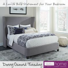 The Lavengin Upholstered Bed features a sophisticated demi-wing headboard and stylish inset side rails in addition to a rounded footboard profile. (Item# 301165Q)  #DonnyOsmondHome #DonnyOsmond #DOHByCoaster #Decor #HomeDecor #HomeImprovement #HomeMakeover #HomeFurnishing #HomeGoals #InteriorDesign #Interior123 #InteriorDecor #HomeStyle #HomeInspiration #HomeInspo #DesignInspo #FurnitureDesign #Bed #CoasterCompany #Coaster