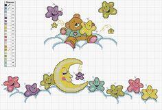 Lindo gráfico de estrelas e lua para bordar ponto cruz em lençóis, fronhas e outros acessórios de bebê.