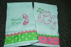 2 Personalized/ Monogrammed Burp Cloths