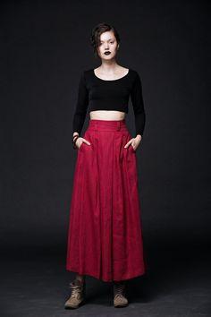 2015 New Red Linen Skirts maxi skirt women skirt C405 by YL1dress