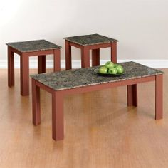 """Brylanehome 3-Pc. Faux-Marble Table Set by BrylaneHome. $74.99. Add functional style to your living space with this 3-piece set. Crafted with a strong and durable faux-marble top, complemented by solid wood construction with rich walnut finish. Includes: 1 coffee table, 2 end tables. Imported. Assembly. 17""""Hx42""""Wx20""""L coffee table; 19""""Hx18""""Wx18""""L end table."""