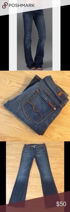 """7 FOR ALL MANKIND: Flare jeans - size 27 7 for all mankind flare jeans with a 33.5"""" inseam, 7.5"""" rise and 19"""" leg opening.. They measure 15"""" across the top of the waist when laying flat.. 98% cotton and 2% lycra.. These r in EXCELLENT condition!! 7 For All Mankind Jeans Flare & Wide Leg"""