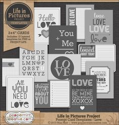 Life in Pictures: Prompt Card Templates - Love #lifeinpictures #ProjectLife