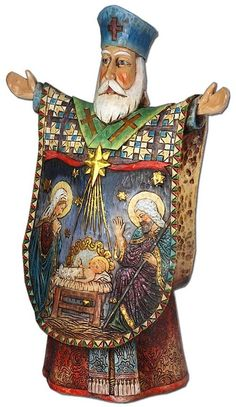 This beautifully hand-painted statue of St. Nicholas hails from the artistic traditions that created the magnificent icons that grace the great cathedrals of Russia.  Nowhere else will you find a statue of St. Nicholas as handsome as this, or as well-crafted.