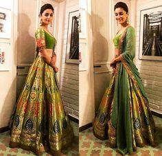 Alia Bhatt in Lehenga at Diwali Party 2017 , Indian Fashion, Lehenga choli in silk