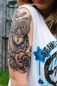 Most popular tags for this image include: tattoo, girl, owl and black and white