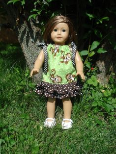 American Girl Doll Clothes, Monkey Dress, Pillowcase Dress, Green and Brown, Birthday Party in a Box, fits 18 inch Dolls via Etsy