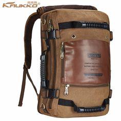 Kaukko Men backpack Canvas Huge Travel School Shoulder Computer Backpacking  Functional Versatile Bags Multifunctional Laptop Bag 802f6af9a5acd