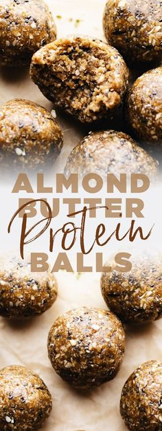 Super chewy, healthy protein balls that are perfect for on-the-go protein! Made with oats, almond butter, and nutritious seeds. You will love these no bake protein balls that are a great healthy snack Protein Desserts, Quick Healthy Desserts, Healthy Protein Snacks, Protein Bites, Healthy Breakfast Recipes, Healthy Baking, Snack Recipes, Protein Recipes, Vegan Breakfast Protein