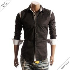 Doublju Mens Casual Dress Checked Shirts (W004)
