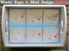 Washi tape and Mod Podge thrift store tray update via Chase the Star