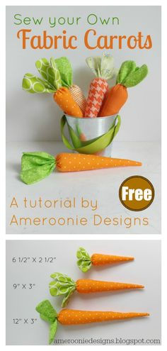 Fabric Carrot Free Sewing Pattern … - Fabric Crafts No Sew Food Patterns, Easy Sewing Patterns, Easy Sewing Projects, Sewing Crafts, Pattern Sewing, Free Pattern, Diy Crafts, Easter Projects, Easter Crafts