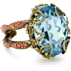 "Sorrelli ""Tropical"" Heirloom Oval Cut Adjustable Gold-Tone Ring #colorful"