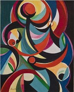 Composition. Auguste Herbin 1882-1960 French Cubist and later abstract painter whose work forms a bridge between the Cubist movement and post-war geometrical abstract painting. The pure geometrical shapes and positive colours of his later abstract works had considerable influence on various younger abstract painters. Was also active in the 1950s as a designer of tapestries. Died in Paris. His paintings from the 30's seem to fit best into Orphism.