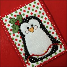 Polly Penguin is hanging the lights and decking the halls!This is a great mug rug for your home, office, a gift for a quilty friend or send it as a postcar
